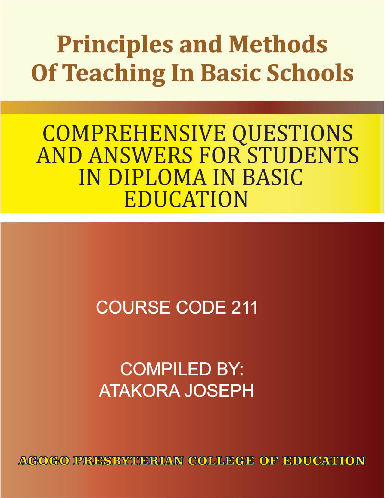 Principles and Methods of Teaching in Basic Schools